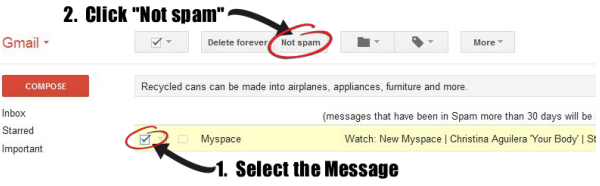 When a message is not spam in gmail