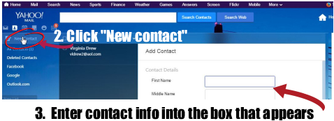 Yahoo manually add contact 2